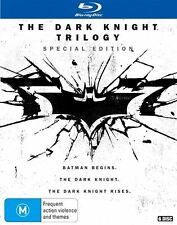 The Dark Knight Trilogy -Batman Begins+Dark Knight+Dark Knight Rises NEW Blu-Ray