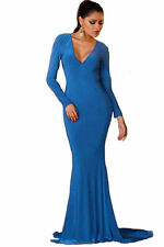 Backless Long Sleeves Mermaid Blue Evening Party Gown
