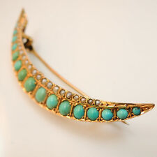 Victorian / Edwardian 9ct gold crescent moon turquoise and seed pearl brooch