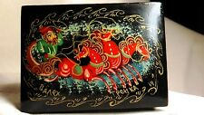 VINTAGE PALEKH BLACK LACQUER BOX HAND PAINTED AND SIGNED FROM RUSSIA