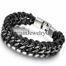 17MM Wide Cool Men's Black Leather Braided Metal Clasp Bangle Bracelet 8.5""