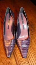 Enzo Angiolini Purple Reptile Embossed Shoes Heels Size 8 1/2, 8.5 M