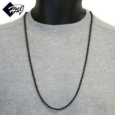 "30""MEN's Stainless Steel 3.5mm Black Smooth Rope Chain Necklace"