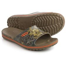 NWT CROCS Crocband Lopro Realtree Xtra Slide Sandals, Men's Size 9 Walnut