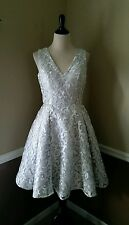 NWT Modcloth Ivory Silver Fit Flare Dress 8 Chi Chi Fast Fanciful $175 Cocktail