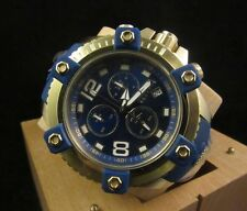 New Mens Invicta 11173 Arsenal Reserve Swiss Chronograph Blue Dial/Gold Watch