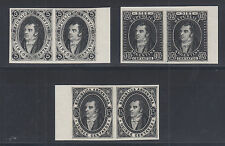 Argentina Sc 8P-10P MNH. 1864-1867 Rivadavia, imperf TCP Pairs on card cplt, VF