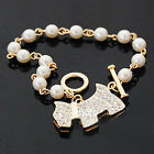 Hot Fashion Charms White Pearl Rhinestone Crystal Cute Dog Bangle Bracelet Gift