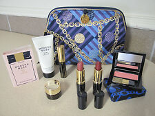 Estee Lauder Cosmetic bag chains  blush 2 lipstick mascara body lotion GWP