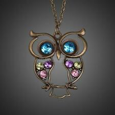 Retro Rhinestone Crystal Owl Pendant Women Sweater Long Chain Necklace Jewelery