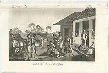 1830c VEDUTA DEL BAZAR DI CUPANG acquatinta Giulio Ferrario Kota Kupang Timor