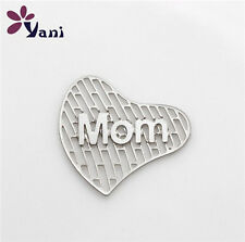 Mom Floating Locket charm 20mm silver discs Hearth for glass Living Memory  C3