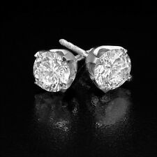3 1/2 CT F/SI1 Solitaire Diamond Stud Earrings Round Cut 14K White Gold Enhanced