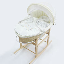 Baby Carrier Moses Basket Bassinet w/ Rocking Stand & Cotton waffle Bedding