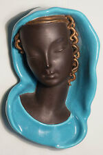 GOLDSCHEIDER WIEN / VIENNA ART DECO WALL MASK HEAD, LADY IN BLUE SHAWL
