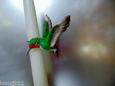 "NEW Vtg Porcelain & Metal HUMMINGBIRD CANDLE RING Figurine 3"" Candlestick Accent"