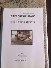 RAPPORT DE STAGE EP2 EN CRECHE+ECOLE MATERNELLE CAP PETITE ENFANCE 17.5/20