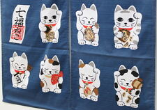 JAPANESE Noren Curtain NEW MANEKI NEKO HAPPY CAT NAVY MADE IN JAPAN JAPAN