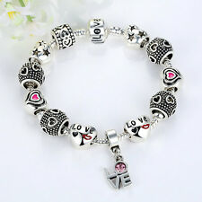 Love European Style Silver Plated Glass Beads Women Crystal Charm Bracelet 20cm