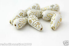 White Gold Etched Ornate Acrylic Drop Teardrop Beads 21mm (12)
