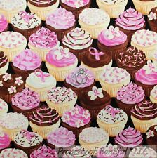 BonEful Fabric FQ Cotton Quilt Pink Brown White Breast Cancer Lady Cupcake Girl