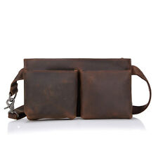 Handmade Mens Womens Vintage Fashion Messenger Bag Real Leather Waist Fanny Pack