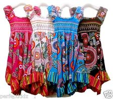 GIRLS Floral Dress Flower Girl HANDKERCHIEF STYLE Hanky Dress Kids 100% Cotton