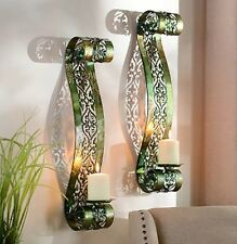 Green Parker Scroll Sconce Set of 2 Wall Candle Holder Decor