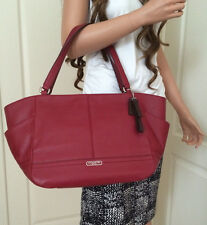 NWT COACH BLACK CHERRY RED LEATHER CARRIE TOTE BAG PURSE  Shopper