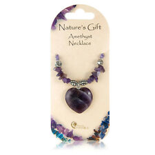 Pretty Purple Amethyst Love Heart Crystal Chip & Charm Natures Gift Gem Necklace