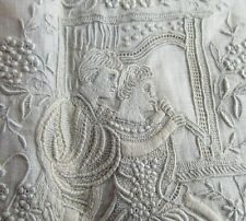 Fine 19th Century Embroidery Sheep Pastoral Scene Extraordinary Work Trousseau