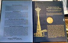 1962 SEATTLE WORLDS FAIR CENTURY 21 EXPO SET OF 9 BRONZE MEDALS IN ORIGINAL BOOK