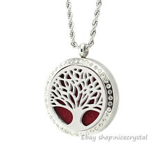 1Set Crystal Tree Of Life 30MM 316L Stainless Steel Aromatherapy Locket Necklace