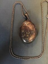 antique Sterling Locket Eidleweiss Cross Ferns FREE SHIP