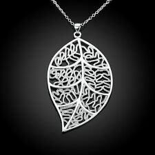 New Wholesale 925 Sterling Silver Filled Womens Filigree Leaf Charm Necklace