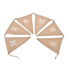 Hessian Burlap Rustic Wedding Party Decoration MR and MRS Bunting Banner Sign EL