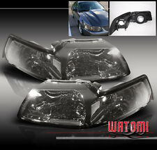 99-04 FORD MUSTANG CRYSTAL HEADLIGHTS LAMPS SMOKE LENS 00 01 02 03 GT SVT COBRA