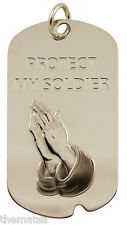 "PROTECT MY SOLDIER ARMY PRAYING HANDS ENGRAVABLE MILITARY DOG TAG WITH 24"" CHAIN"