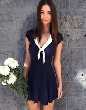 Reformation Navy Blue Crepe 'Limestone' Tied Collar Sailor Dress Size 4P $218