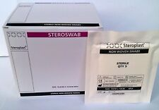 25 packs of 5 Steroplast Sterile Non Woven swabs 10cm x 10cm