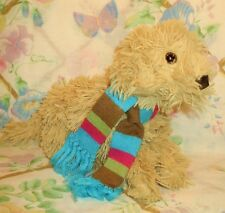 "2005 MAURICES PLUSH STUFFED YELLOW LABRADOODLE DOG LUCKY 9"" EUC IN WINTER SCARF"