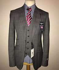 BERNARD WEATHERILL SAVILE ROW 3 PIECE DESIGNER SUIT PRINCE OF WALES CHECK 44R