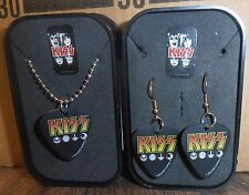 KISS Guitar Pick Necklace/Earings Set & Collector Box by Rock Express, BRAND NEW