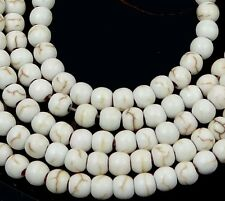 4mm White Turquoise Round Beads 15.5""