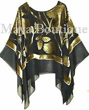 Maya Matazaro Layered Poncho Top Silk Burnout Velvet Chiffon Black Antique Gold