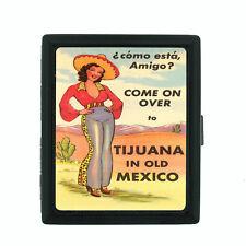 Sexy Senorita Pin Up Girl D9 Black Cigarette Case / Metal Wallet Classy Latina