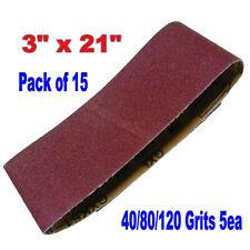 "15x Mix 3"" x 21"" Sanding Belts Aluminium Oxide 40/80/120 Grits Sander Abrasive"