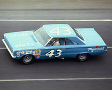 RICHARD PETTY 1966 PLYMOUTH BELVEDERE ON TRACK 8X10 GLOSSY PHOTO #FR17