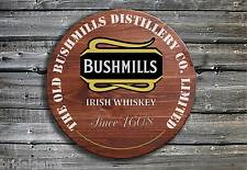 Traditional Bushmills Whiskey Barrel End Wooden Pub Sign ☘ Hand Made in Ireland