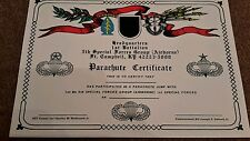 US Special forces parachute wings certificate  5 SF